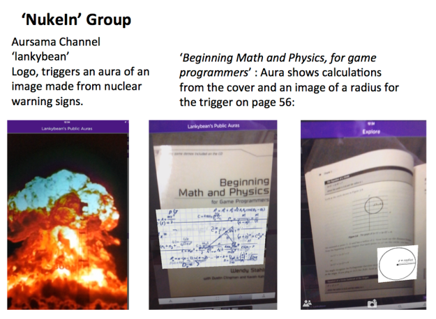NukeIn group logo and auras on text book